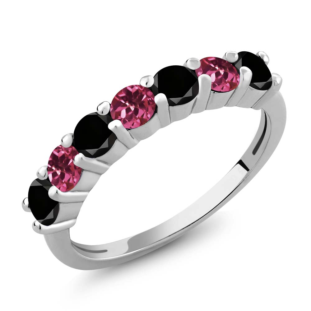 1.13 Ct Round Black Diamond Pink Tourmaline 925 Sterling Silver Ring by