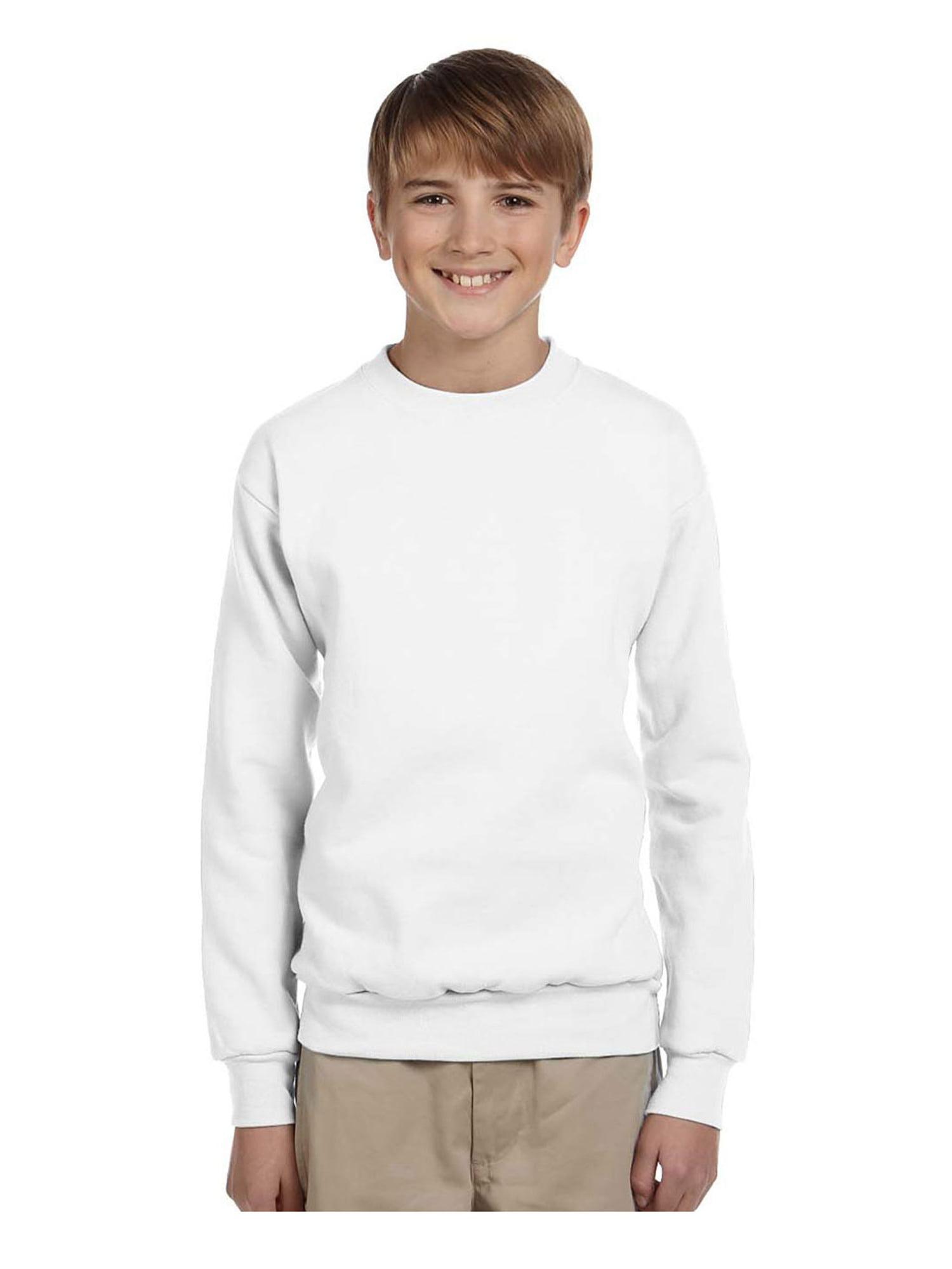 Hanes Youth Cotton Crewneck Fleece Closure Sweatshirt, Style P360