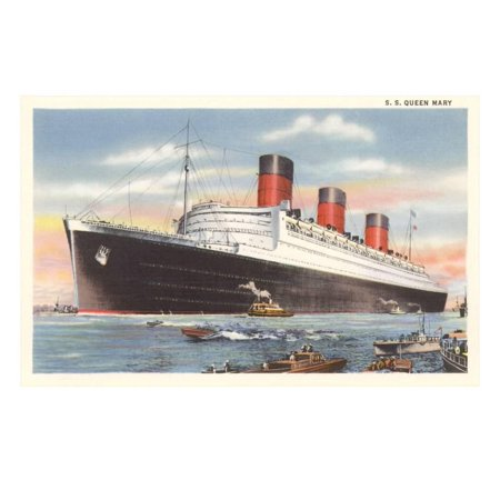Ocean Liner SS Queen Mary Print Wall Art