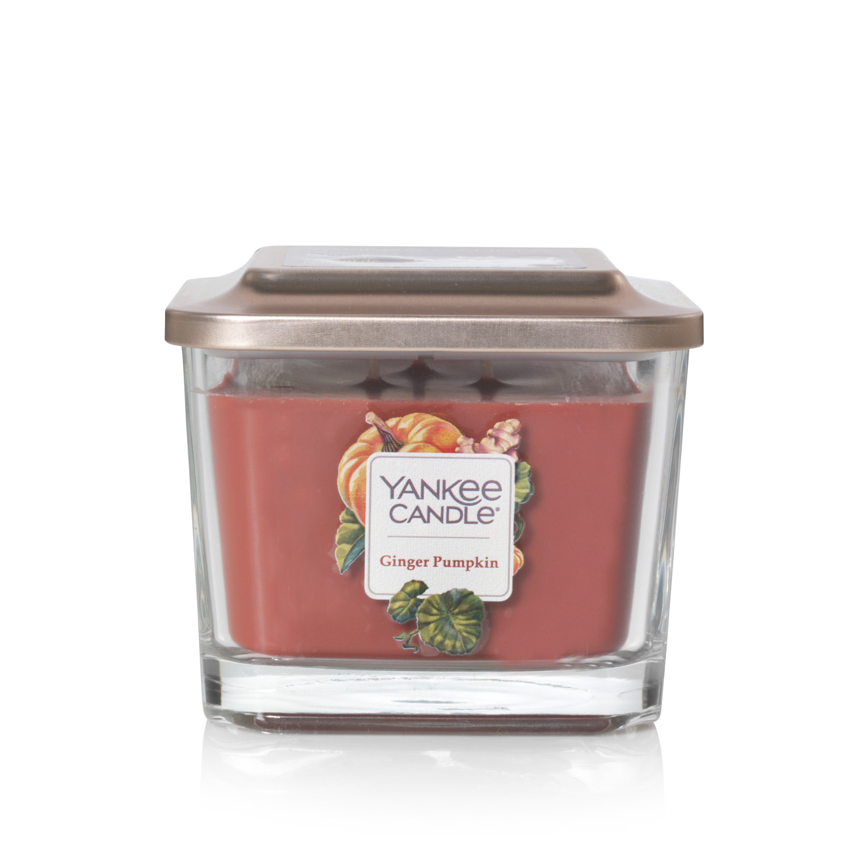 Yankee Candle Elevation Collection with Platform Lid Large 2-Wick Square Candle, Ginger Pumpkin