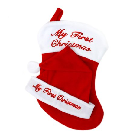 - Holiday Time My First Christmas Baby Red Stocking and Santa Hat Set