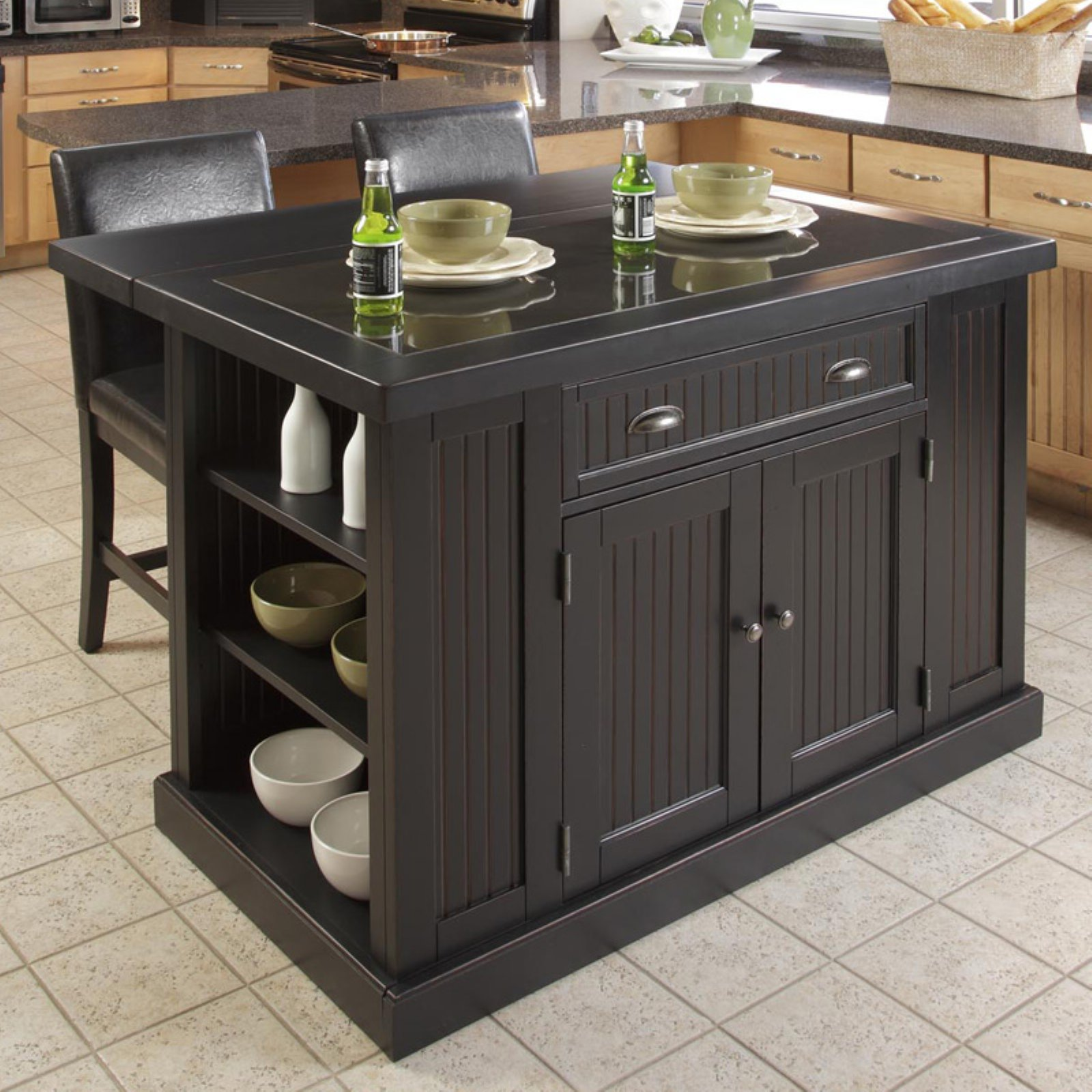 Beau Nantucket Kitchen Island Distressed Black Finish