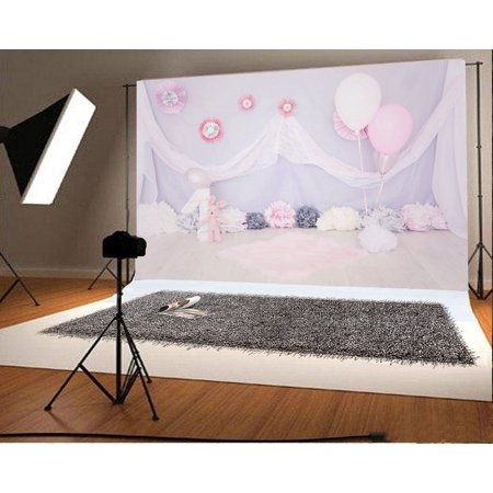 Bunny Birthday Party (HelloDecor Polyester Fabric Photography Backdrop 7x5ft Baby 1st Birthday Party Paper Flowers Decoration Balloons Cute Bunny Children Kids Baby Portraits Props Shooting Video)