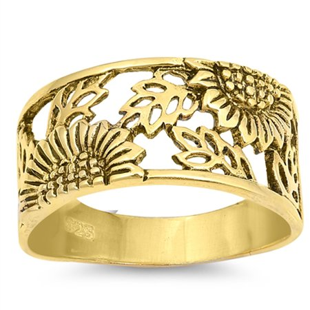 CHOOSE YOUR COLOR Sterling Silver Gold-Tone Sunflower Ring Filigree Flower Leaf Band (Yellow Gold-Tone/Ring Size 5)