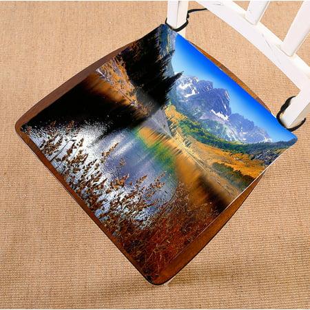 PHFZK Landscape Nature Scenery Chair Pad, Mountain Lake Maroon near Aspen Colorado Seat Cushion Chair Cushion Floor Cushion Two Sides Size 16x16 inches