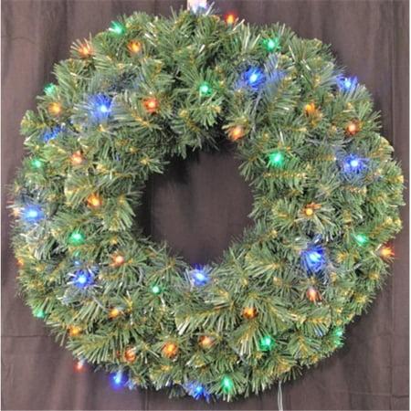 Winterland WL-GWSQ-03-L4M-BAT Pre-Lit Battery Operated Multi-Color LED Sequoia Wreath (Winterland Theme)