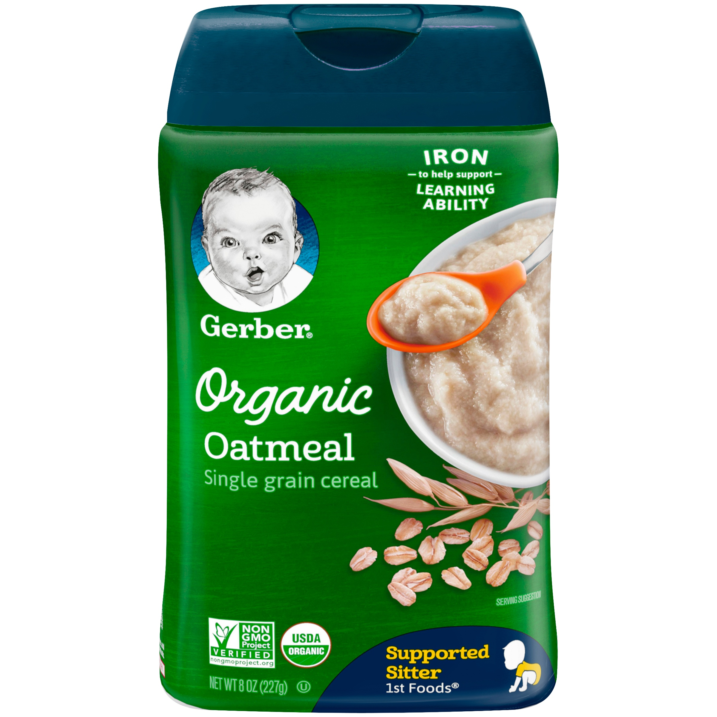 Gerber Organic Single-Grain Oatmeal Baby Cereal, 8 oz