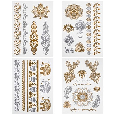 BMC Gorgeous 4pc Mixed Metallic Assortment of Temporary Water Transfer Tattoos](31 Dollar Halloween Tattoos)