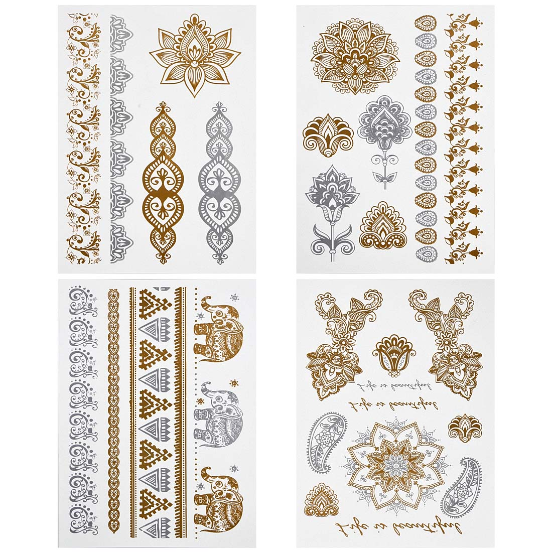 BMC Gorgeous 4pc Mixed Metallic Assortment of Temporary Water Transfer Tattoos