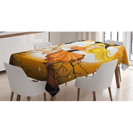 Halloween Decorations Tablecloth, Cute Sexy Witch on a Broom with Baby Kitten and Hazy Moonlight Print, Rectangular Table Cover for Dining Room Kitchen, 60 X 90 Inches, Multi, by Ambesonne](100 Pics Halloween 90)