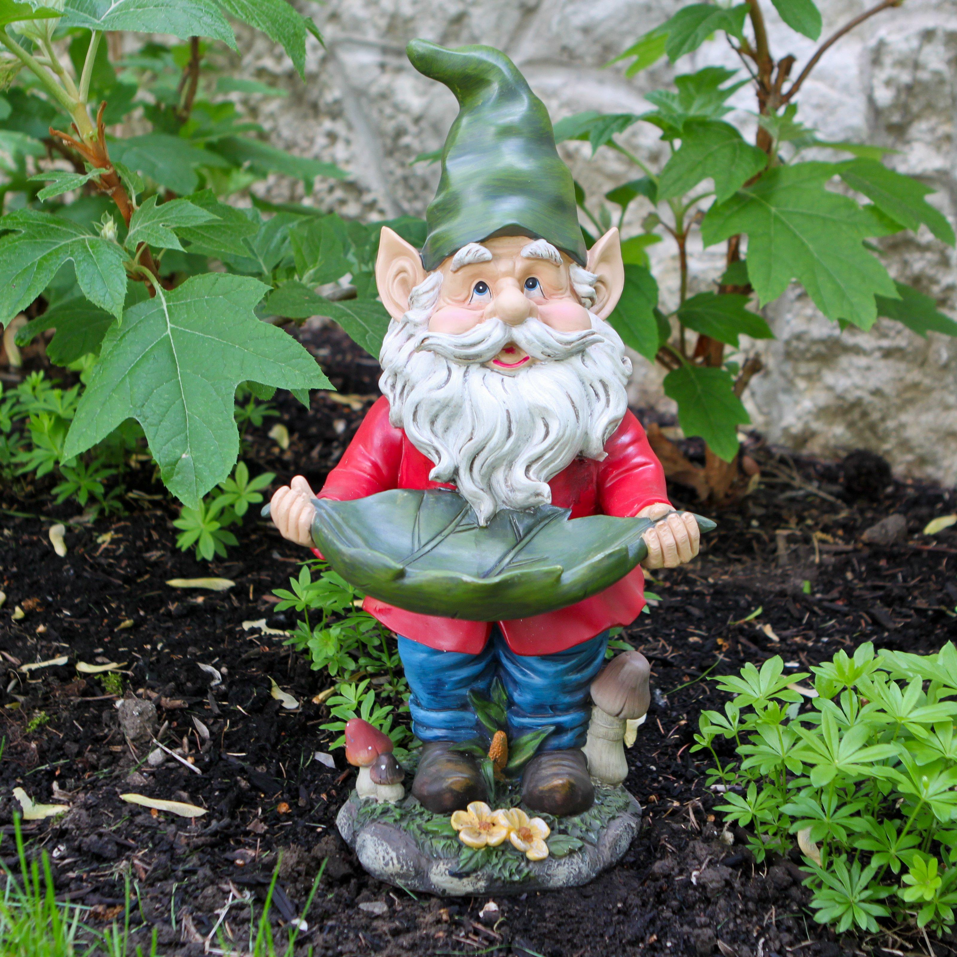 Gnome with Leaf Birdfeeder Statuary by Alpine Corporation