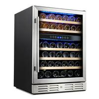 Kalamera 24' 46-bottle Wine Cooler Refrigerator Built-in Dual Zone, Stainless Steel Door & Handle