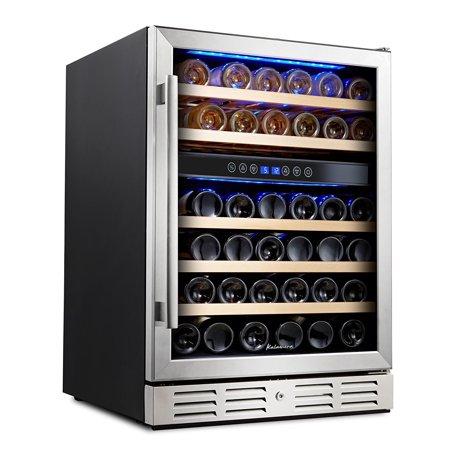 Kalamera 24' 46-bottle Wine Cooler Refrigerator Built-in Dual Zone, Stainless Steel Door &