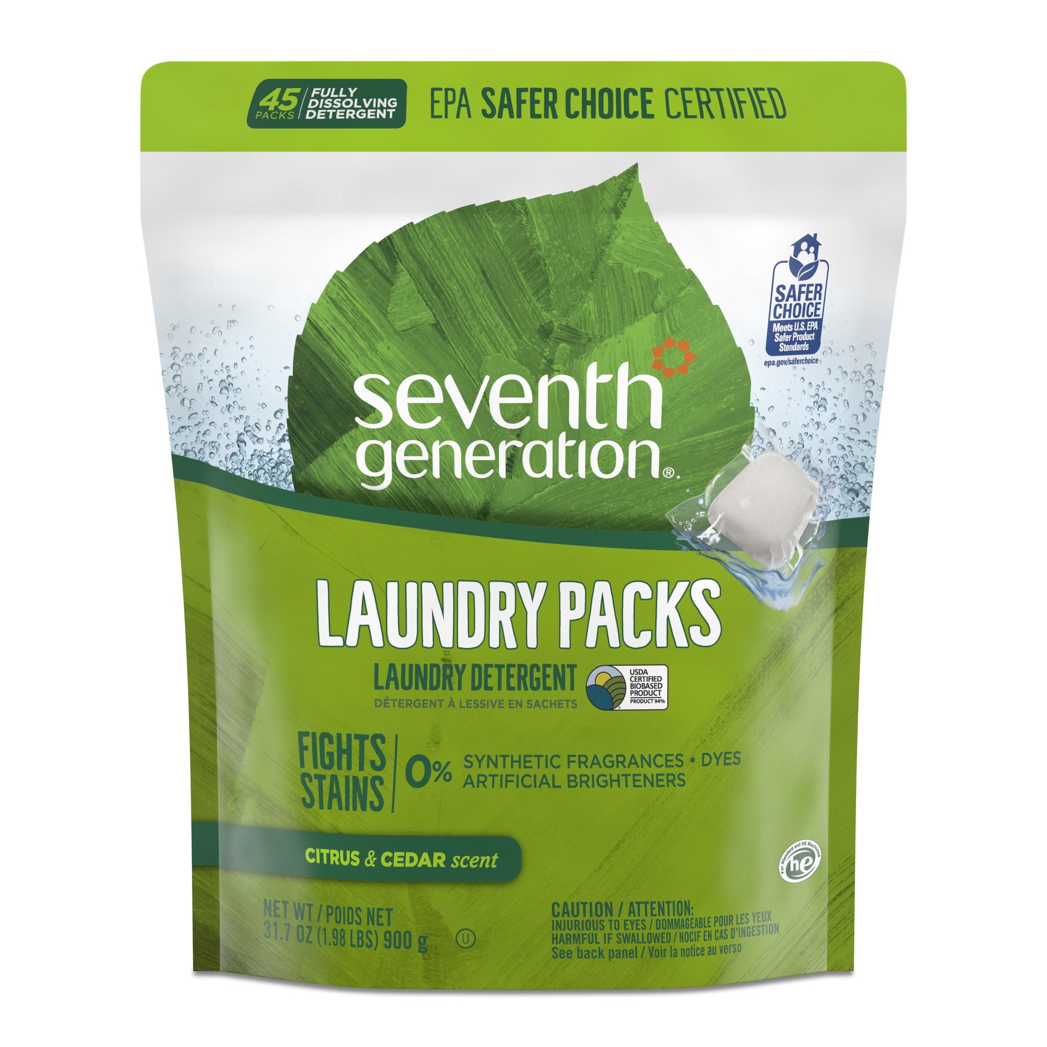 Seventh Generation Laundry Detergent Packs, Citrus & Cedar scent, 45 count