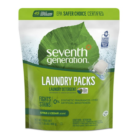 Seventh Generation Laundry Detergent Packs, Citrus & Cedar scent, 45 count