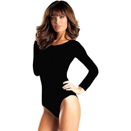 Black Long Sleeve Leotard Women's Adult Halloween - Cruz 101 Halloween