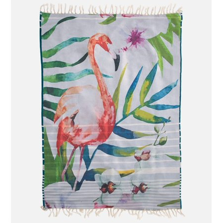Reversible Beach Towel - Bamboo Beach Towel - Reversible- Blue Green Stripe & Flamingo