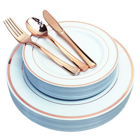 JL Prime 125 Piece Rose Gold Plastic Plates & Cutlery Set for 25 Guests, Heavy Duty Disposable Plastic Plates with Rose Gold Rim & Silverware, Dinner & Salad Plates Forks Knives Spoons 25 Each