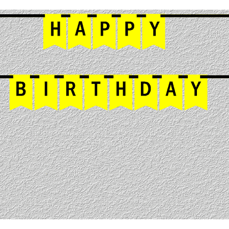 Yellow and Black Happy Birthday Bunting Letter Banner - Black Bunting