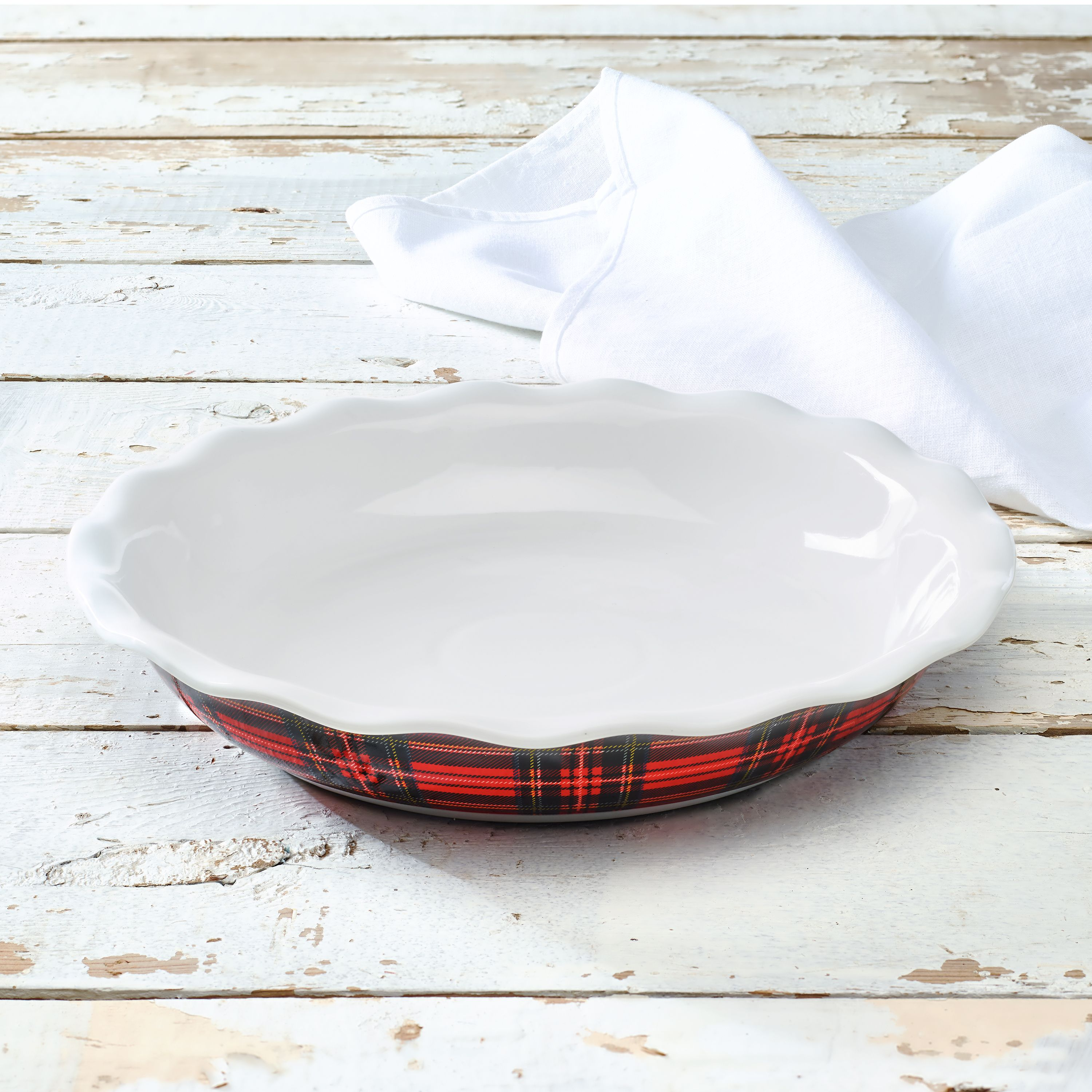 Highland Collection 10 Plaid Pie Plate, Red Plaid, Walmart Exclusive
