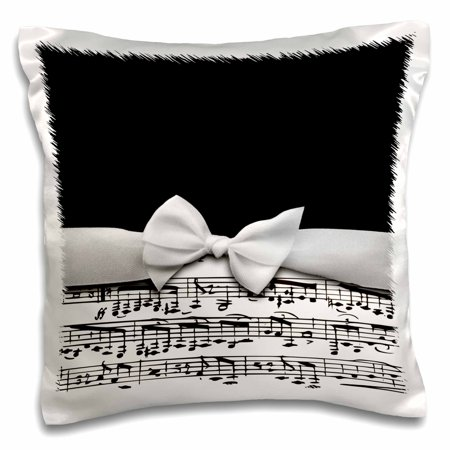 3dRose Stylish musical notes faux ribbon and bow - black and white sheet music girly classy elegant design, Pillow Case, 16 by - Black And White Musical