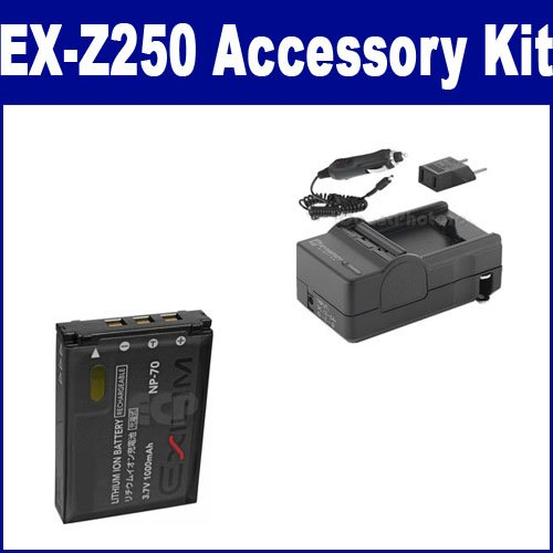 Casio Exilim EX-Z250 Digital Camera Accessory Kit includes: SDCANP70 Battery, SDM-199 Charger
