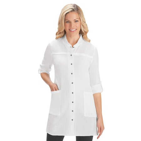 1457feb969 Collections Etc - Women's Crinkle Gauze Pocket Tunic Top with Roll Tab  Sleeves for Work, Casual Attire, Large, White - Walmart.com