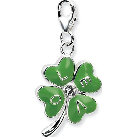 Leslies Fine Jewelry Designer 925 Sterling Silver 3-D Enameled 4 Leaf Clover w/Lobster Clasp (13x31mm) Pendant Gift