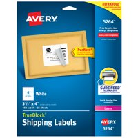 """Avery Shipping Labels, Sure Feed, 3-1/3"""" x 4"""", 150 White Labels (5264)"""