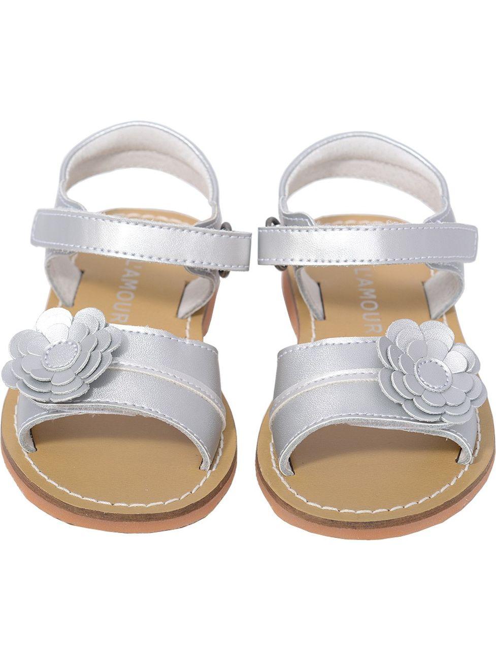 L'Amour Silver Flower Toddler Spring Summer Sandal Shoe Toddler Flower Girl 5-10 526b9e