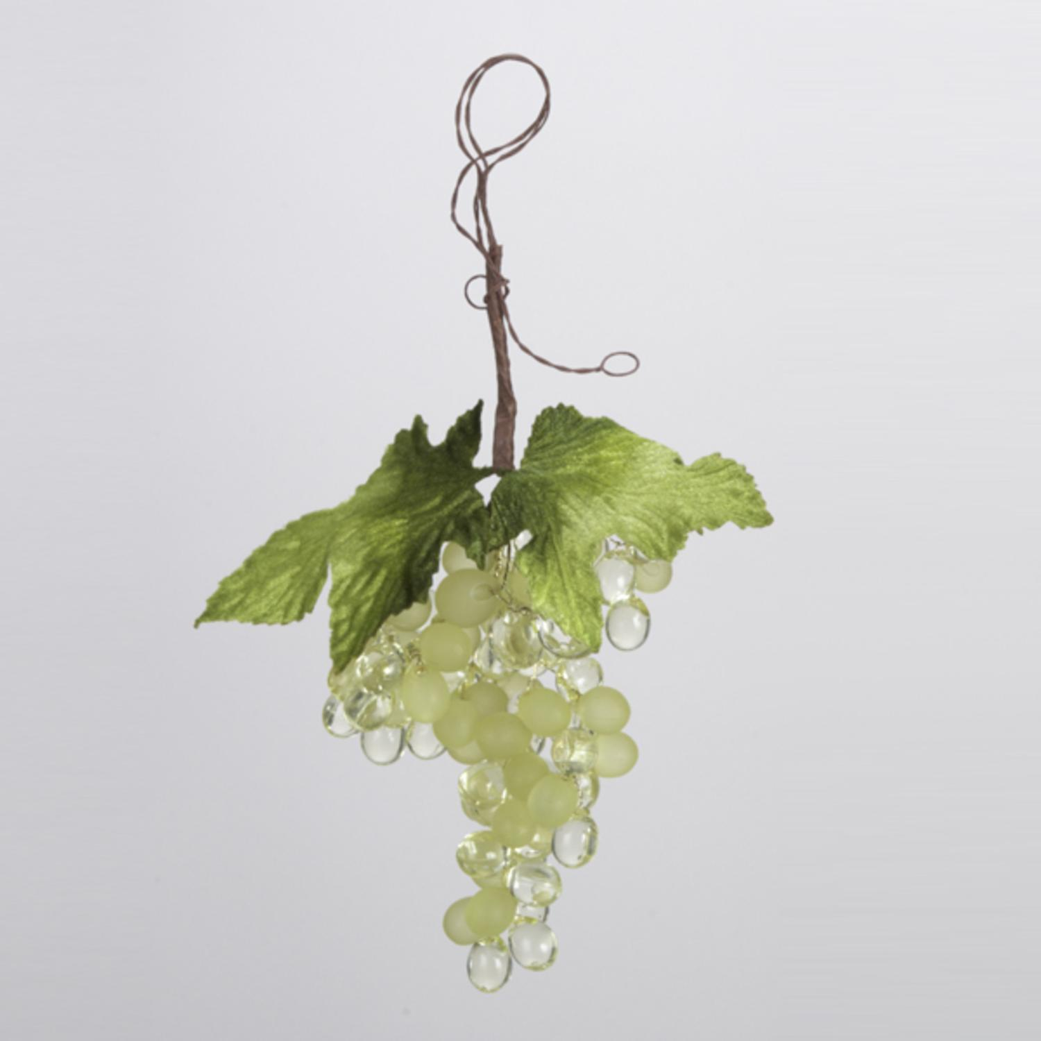 Club Pack of 12 Tuscan Winery Green and Clear Grape Cluster Christmas Ornaments
