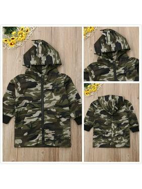 Kids Baby Boys Camouflage Long Sleeve Zipper Coat Hoodie Top Hooded Outwear