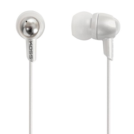 Koss Stereo In-Ear Earbud Headphones with In-Line Volume Control, White, KEB30 (Non-Retail Packaging)
