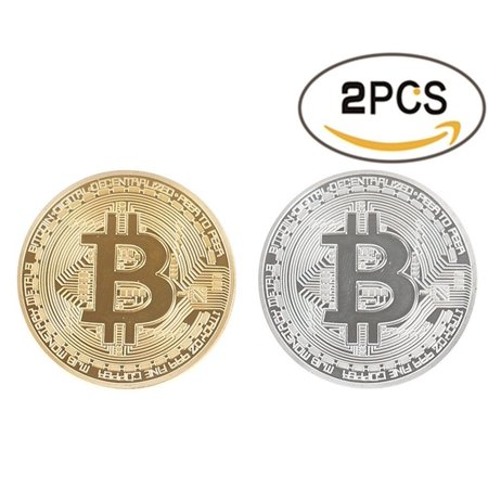 2PCS Bitcoin Challenge Coin Deluxe Collector Set Limited Edition Original Gold and Silver Commemorative Tokens with Display Case, High quality: actual.., By Xiefu