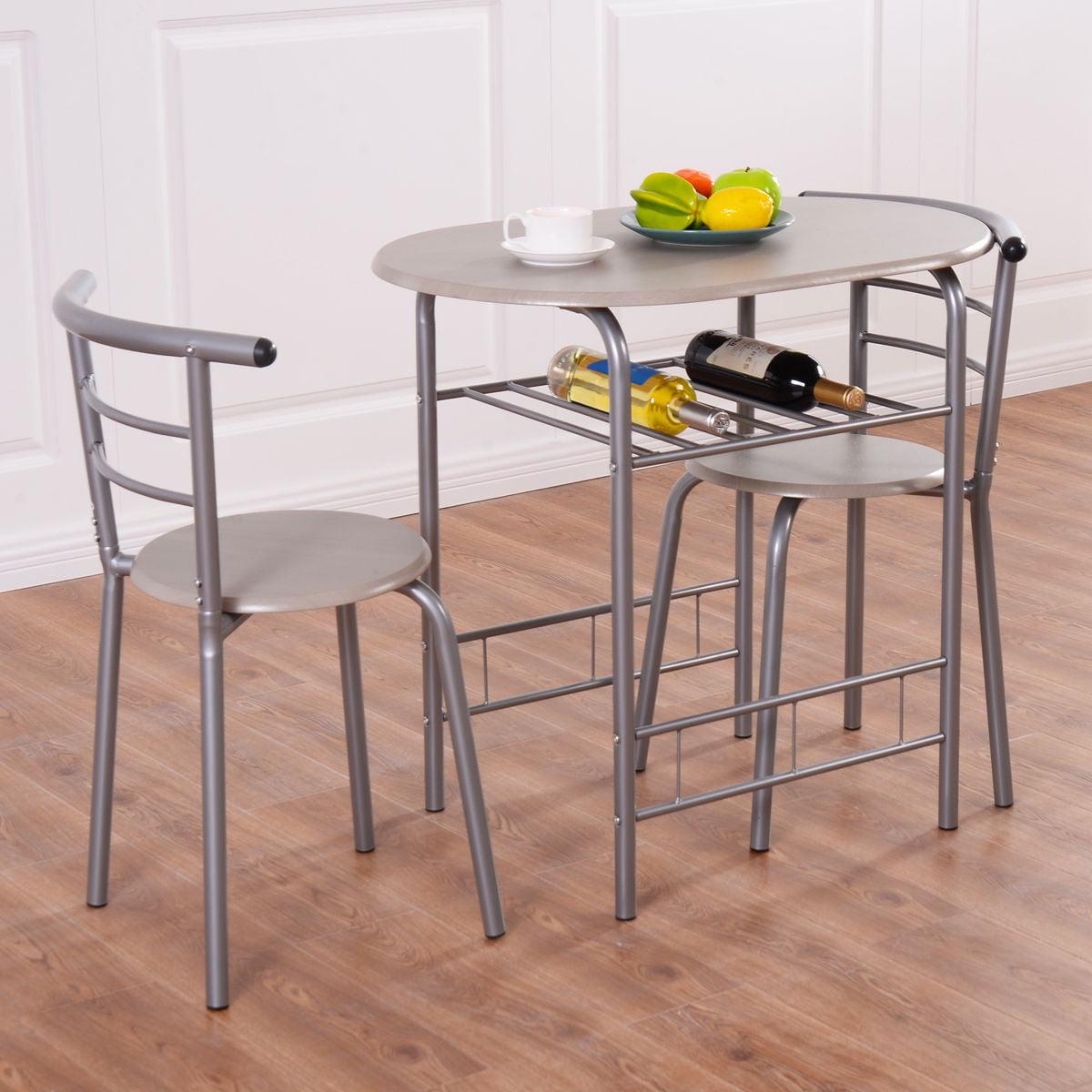 ae418d49d Costway 3 Piece Dining Set Table 2 Chairs Bistro Pub Home Kitchen Breakfast  Furniture - Walmart.com