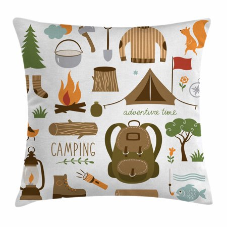 Adventure Throw Pillow Cushion Cover, Camping Equipment Sleeping Bag Boots Campfire Shovel Hatchet Log Artwork Print, Decorative Square Accent Pillow Case, 18 X 18 Inches, Multicolor, by