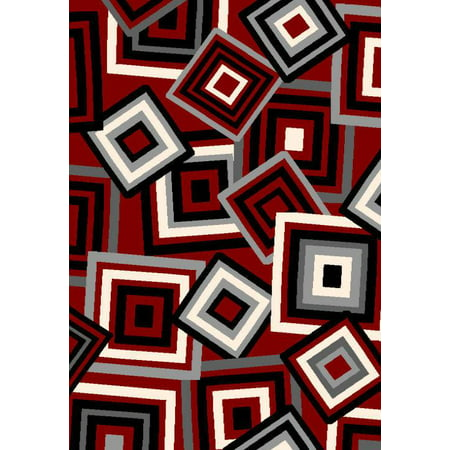 BELLA Modern Contemporary 5x8 5x7 Rug Abstract Area Rug 40129 Red Grey Gray ()