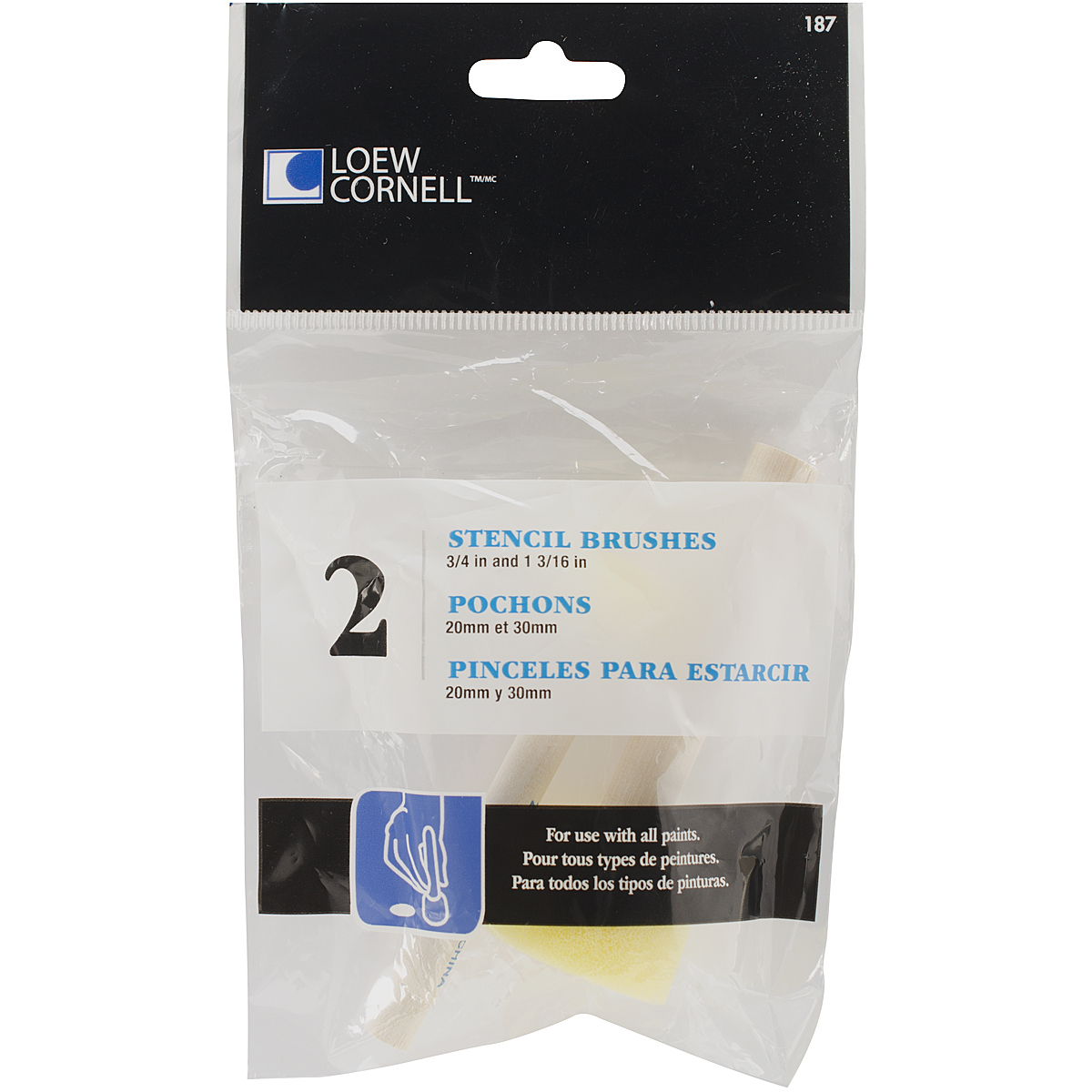 Loew-Cornell Round Sponge Stencil Brushes, 20mm/30mm, 2-Pack Multi-Colored
