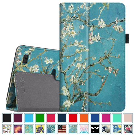 (Fintie Folio Case for All-New Amazon Fire 7 Tablet (7th Gen, 2017 Release) - Slim Fit PU Leather Standing Cover, Blossom)