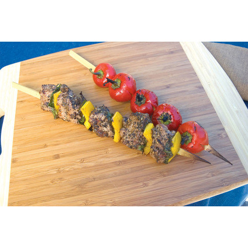 Steven Raichlen Best of Barbecue Wide Bamboo Grilling Kabob Skewers 12-inch Long, Set of 25 Multi-Colored