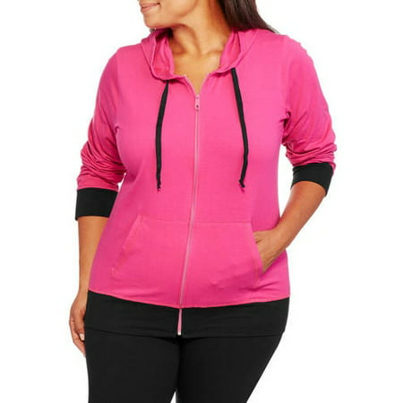 2c24c83a4ea Active - Women s Plus Size Knit Full Zip Hoodie and Pants Yoga Set ...