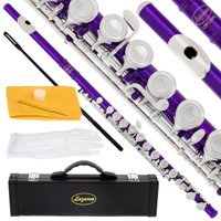 Lazarro 120-PR Professional Purple-Silver Closed Hole C Flute with Case, Care Kit-Great for Band, Orchestra,Schools