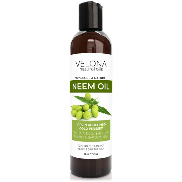 100% NEEM Oil by Velona | All Natural, Virgin, Cold Pressed Oil Great for Hair, Body and Skin Care | Unrefined | Size: 8 oz
