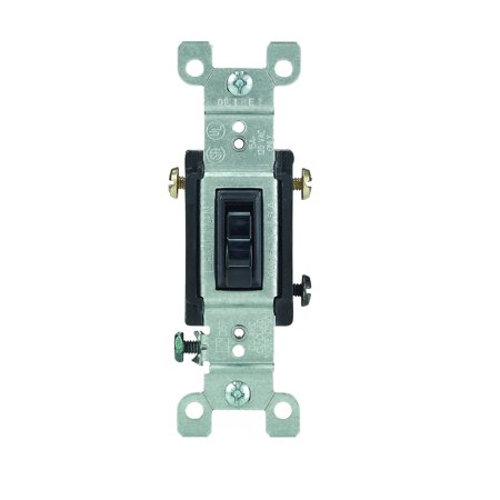 Leviton 1453-2E 15 Amp, 120 Volt, Toggle Framed 3-Way AC Quiet Switch, Residential Grade, Grounding, Quickwire Push-In & Side Wired,
