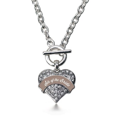 Brown And White Sis Of The Bride Pave Heart Toggle Necklace