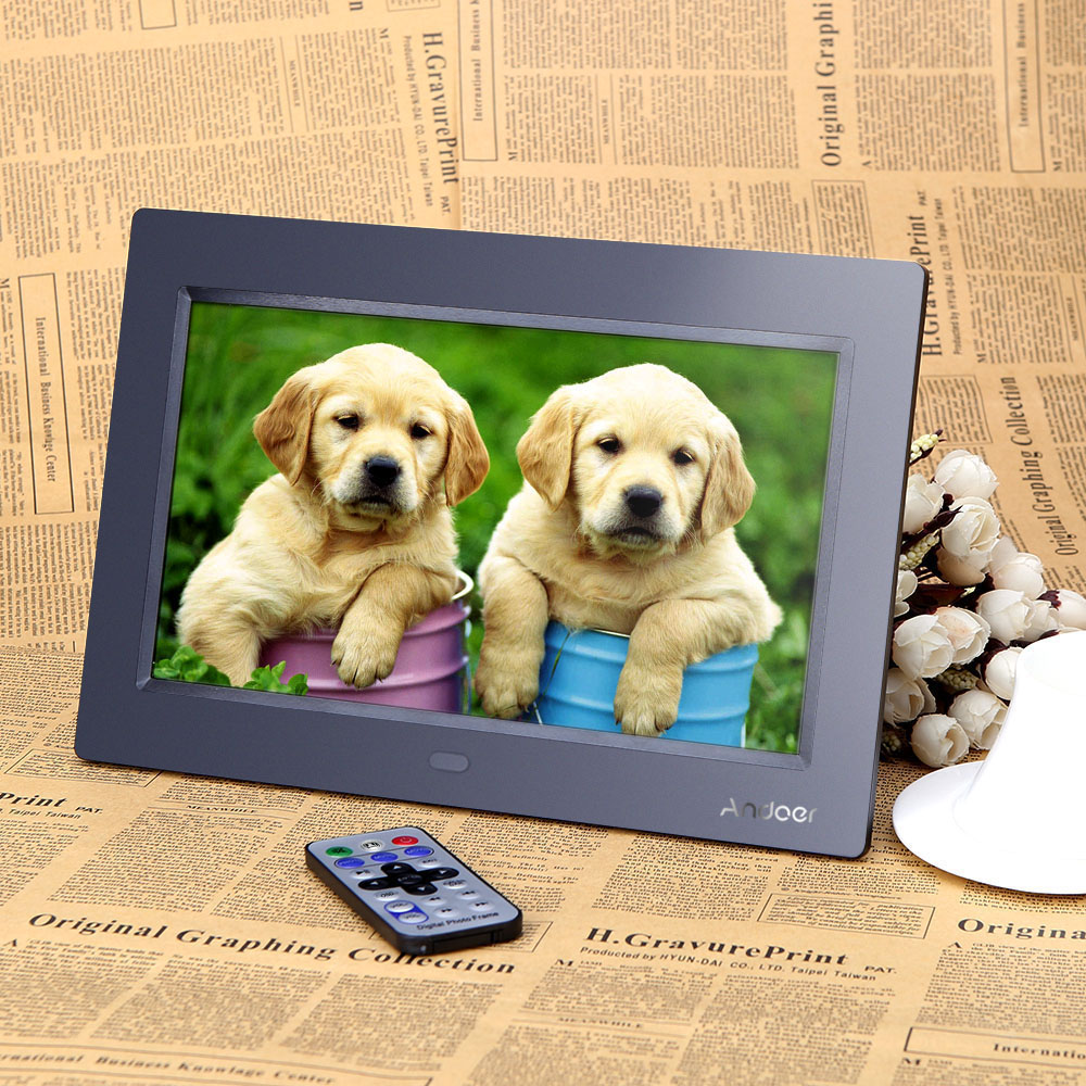 Andoer 10'' HD TFT-LCD 1024*600 Digital Photo Frame Clock MP3 MP4 Movie Player with Remote Desktop