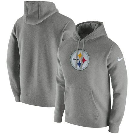 Pittsburgh Steelers Nike Club Fleece Pullover Hoodie - Heathered Gray (Kobe Nike Hoodie)