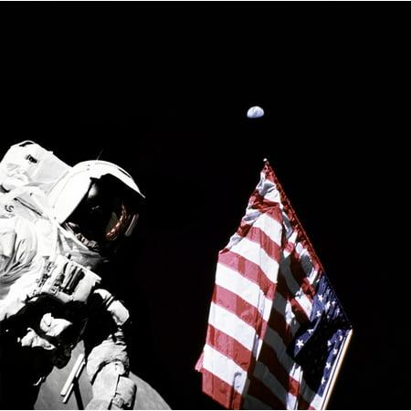 LAMINATED POSTER Moon Apollo 17 Usa Flag Harrison Schmitt Astronaut Poster Print 24 x - Apollo 18 Poster