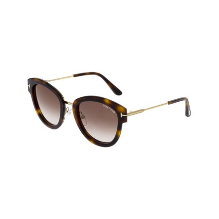 Tom Ford Women's Gradient FT0574-52G-52 Brown Oval Sunglasses