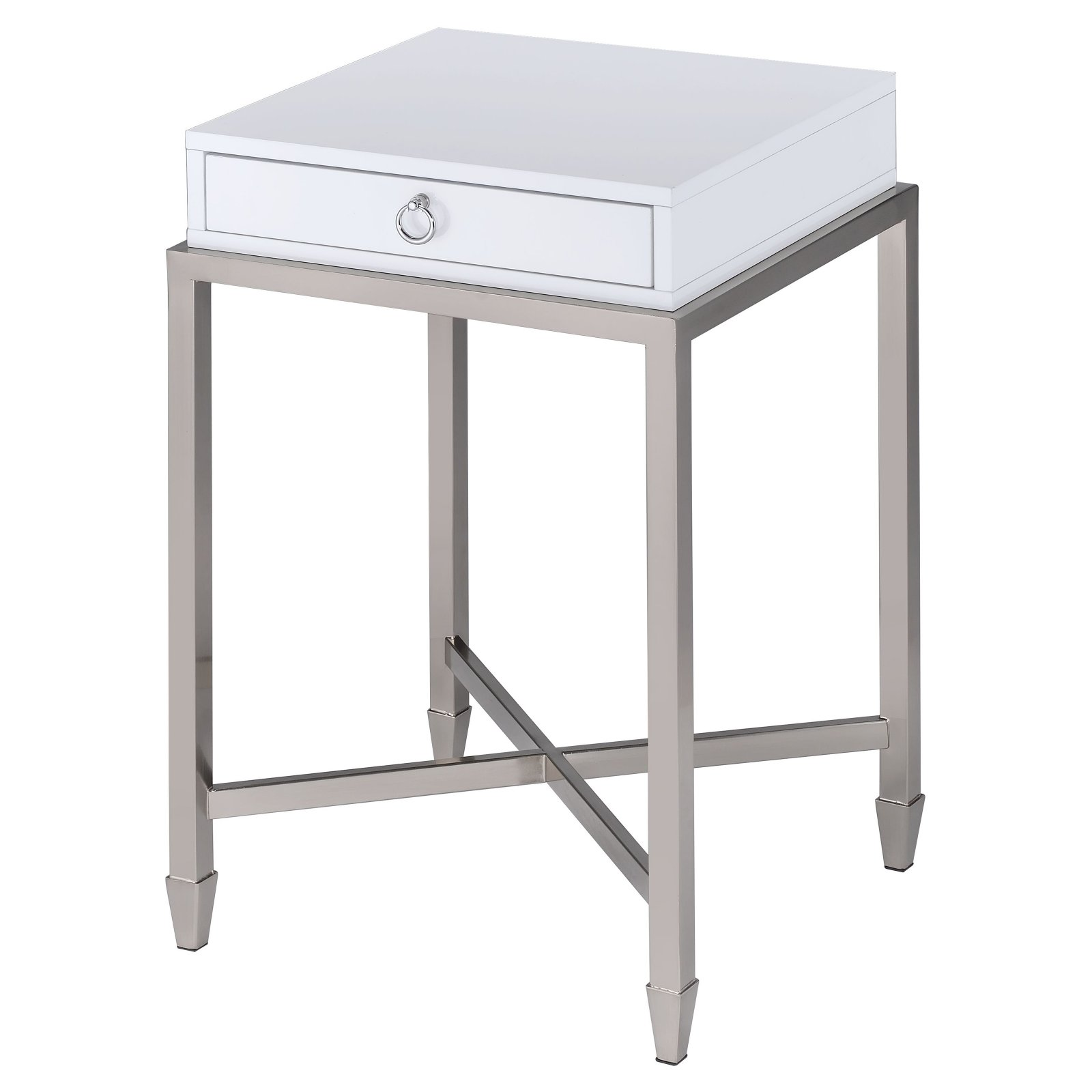 ACME Belinue End Table, White & Brushed Nickel